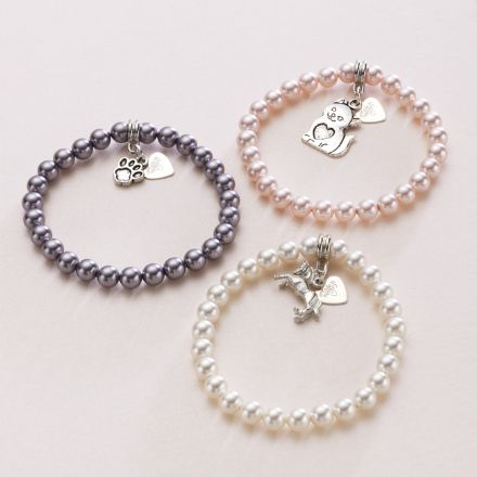 Pet Loss Pearl Bracelet with Engraved Tag